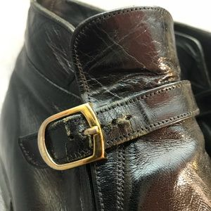 Vintage Shoes - 1960s Vintage Mod Black Leather Ankle Boots W10